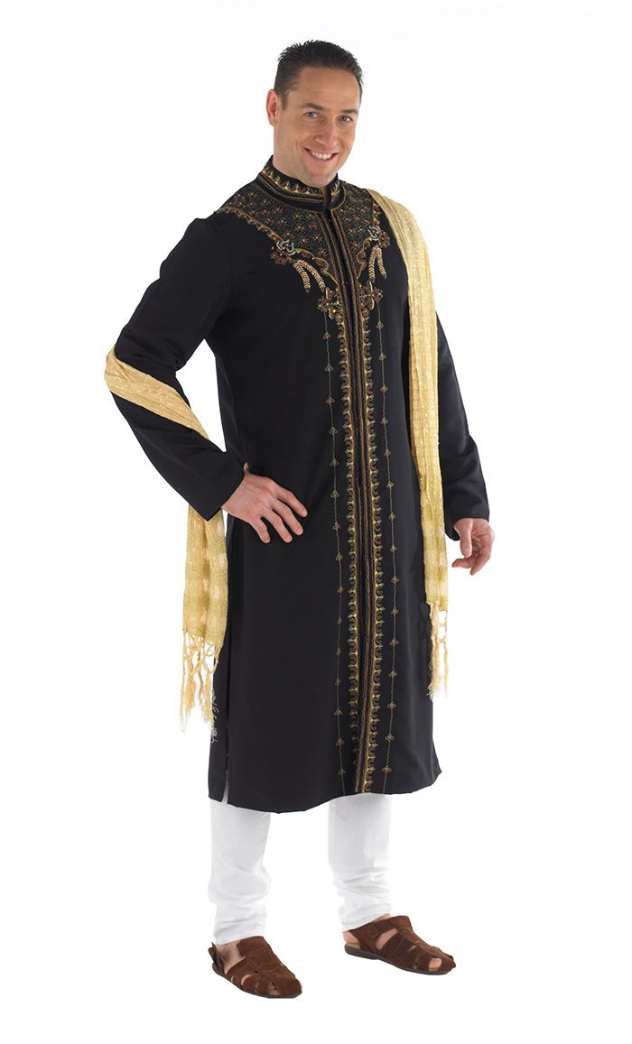 This men's Kurta Sherwani is great for that special occasion. This 3 piece set includes: Kurta, Cotton Pants, and Shawl. Fabric Polyester cotton blend with 100% cotton pants