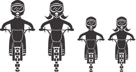 Dirt Bike Family Vinyl Car Window Decals by DogHairDesigns on Etsy, $3.00