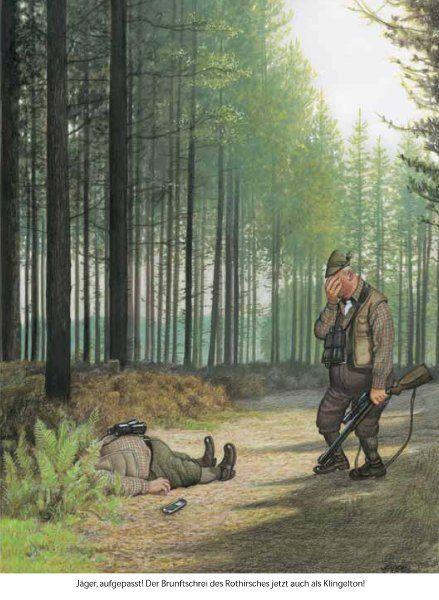 Jäger aufgepasst: Der Brunftschrei des Rothirsches jetzt auch als Klingelton! (© Gerhard Haderer).