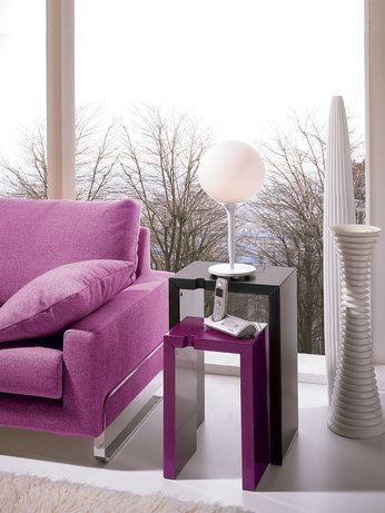 Table d 39 appoint design jane coloris noir ou violine for Table d appoint salon