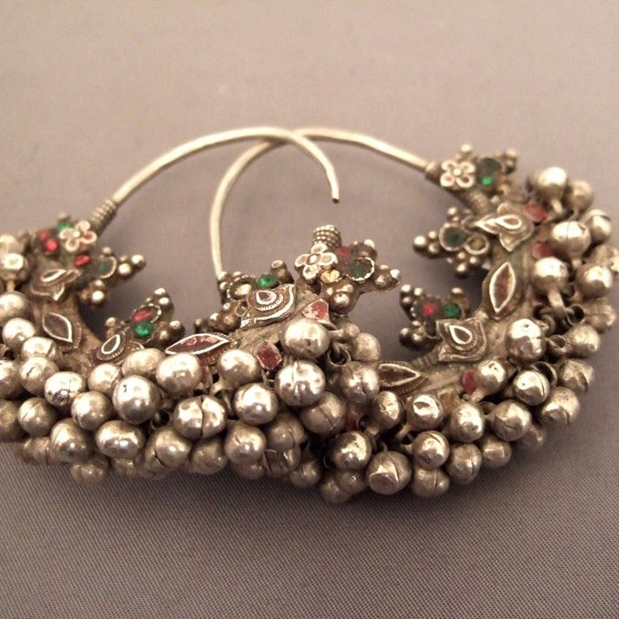 India, Silver Hoop Antique earrings (Rajasthan)