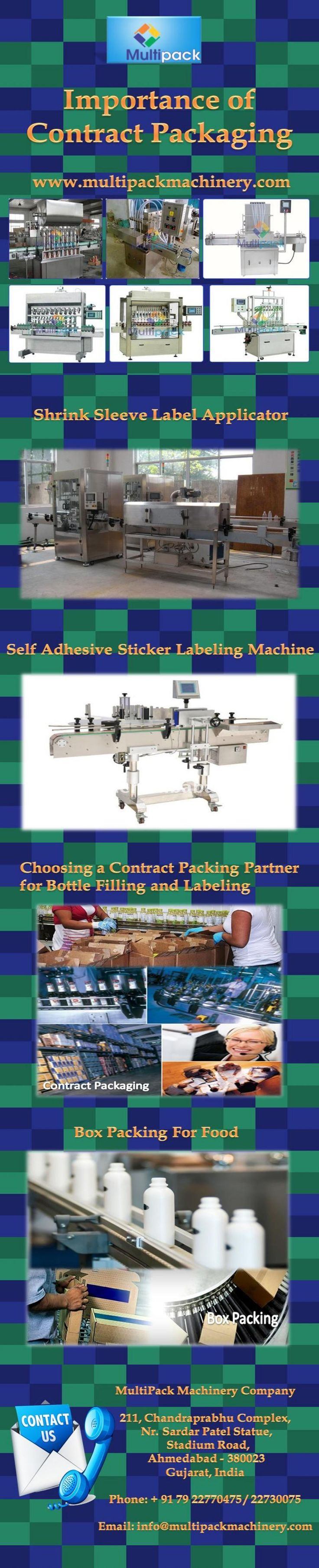 "Pharmaceutical products are in the class of goods for human consumption and a contract packer shall be responsible for ensuring that ""current good manufacturing practices"" are followed. You may also require the contractor to have a cGMP certification to guarantee safe products. Contract packing has great advantages in manufacturing.  Visit at http://www.multipackmachinery.com/contact-us/"