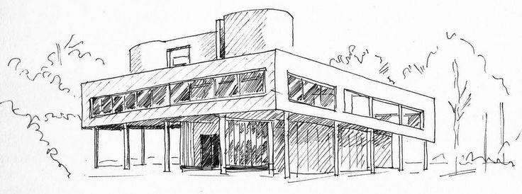 villa savoye le corbusier sketch le corbusier villa savoye poissy pinterest villas. Black Bedroom Furniture Sets. Home Design Ideas