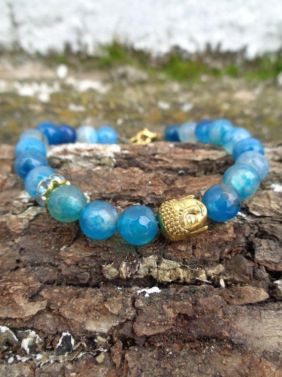 Blue dragon OOAK friendship bracelet / Bohemian bracelet / Summer bracelet/ jade beaded bracelet / semiprecious jewelry / Ethnic bracelet