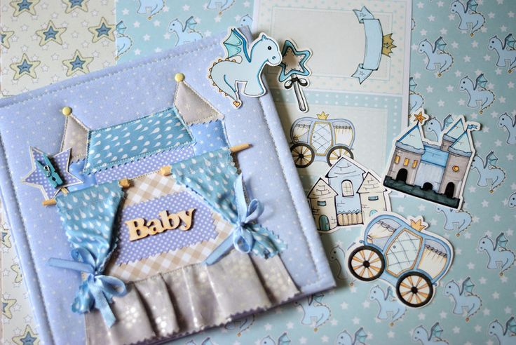 Baby Boy Newborn Photo Album Birthday Scrapbook Memory Album Interior Sky Blue Handmade Photoalbum Children Kids Castle Applique by MrLittleHedgehog on Etsy