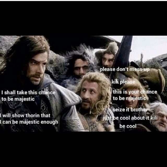 """Kili--- can you imagine Fili having to listen to kili's ranting about being all majestic  """"I shall be majestic and awesome, i will slay thousand of orcs and become legendary just like uncle thorin, and no one shall stop me!"""" """"Kili, you don't even have a beard. shut up"""""""