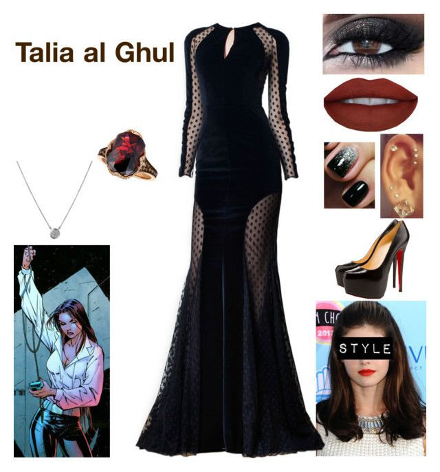 """Talia al Ghul"" by queenreigns-916 ❤ liked on Polyvore featuring Zuhair Murad, Christian Louboutin, Links of London and LE VIAN"