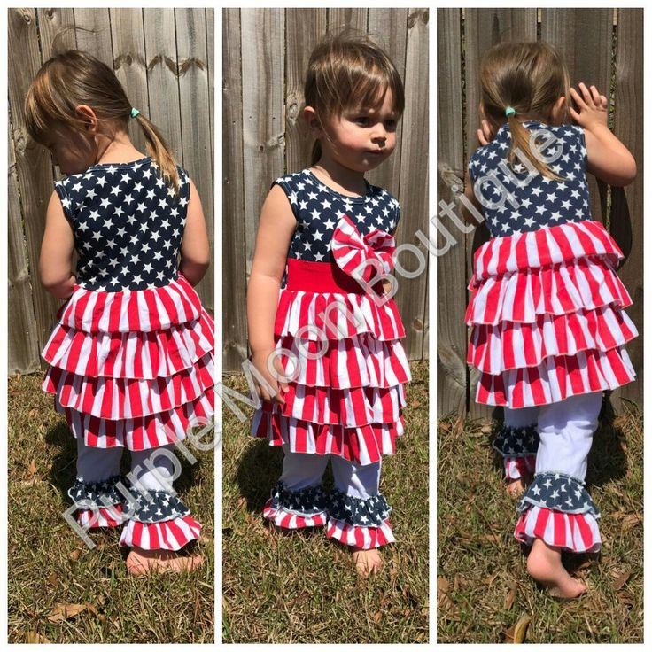 Star Spangled Dress/Double Ruffle Pants Set