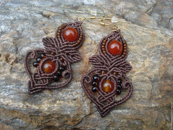 Купить Серьги сердоликом - коричневый, праздничное украшение, подарок девушке, подарок, сердолик натуральный, Сердолик