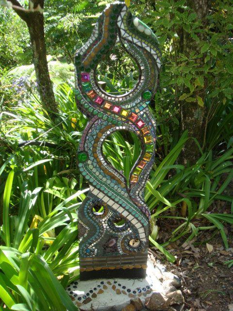 My first mosaic garden totem