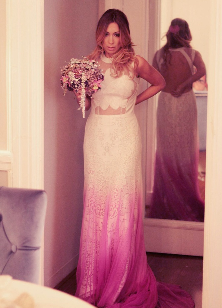 Leila shams wedding dress purple wedd i think i found my for Pink ombre wedding dress