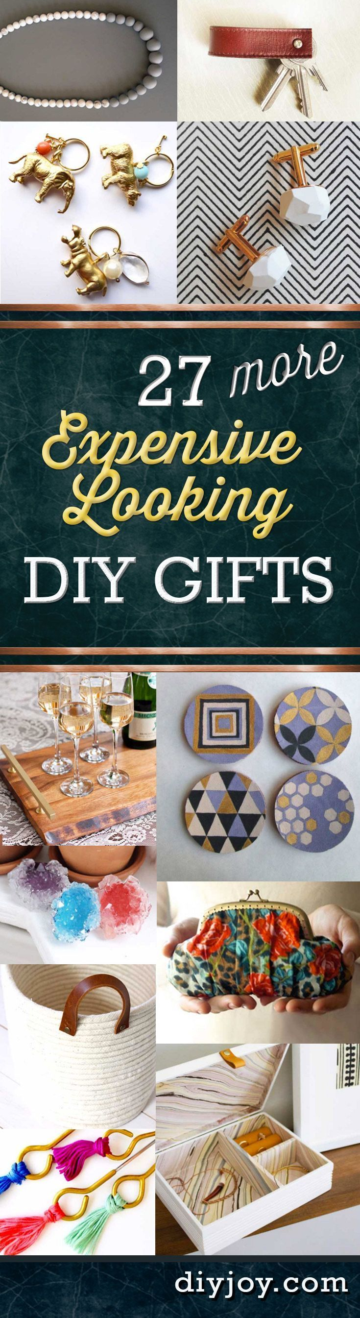 27 MORE Expensive Looking DIY Gifts. Crafts and DIY Gift Ideas for Him, for Her, for Family and Friends.  Perfect for Birthday, Christmas, Mom and Dad. http://diyjoy.com/homemade-diy-gifts-pinterest