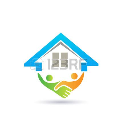 House and handshaking vector image concept of closing a successful business logo Stock Vector