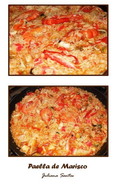Imprimir Receita - Paella de Marisco   Ingredientes: 500 g de camarões 1 limão (sumo) 1 cebola pequena 2 dentes de alho 50 ml de azeite 800 g mistura de marisco 2 tomates maduros 0.5 pimento verde 0.5 pimento vermelho 300 g de arroz 2 colheres de sopa de concentrado de tomate 1 raminho de coentros Sal e pimenta q.b.    Preparação: 1.Coza os camarões num tacho com água temperada com sal, pimenta e sumo de limão durante 10 minutos. Retire e reserve os camarões e o caldo. 2.Pique a cebola e os…