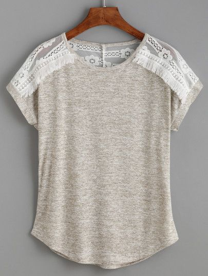 Camiseta tejido encaje insertado-Sheinside