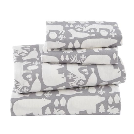Great White North Flannel Sheet Set    The Land of Nod