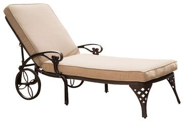 Home Styles Biscayne Outdoor Chaise Lounge Chair in Bronze with Cushion - Transitional - Outdoor Chaise Lounges - Cymax