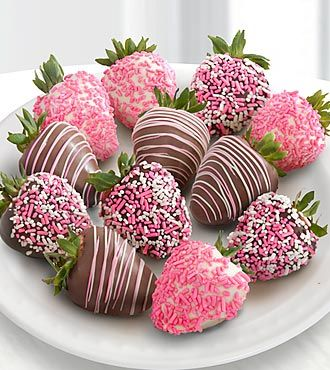 Chocolate Dip Delights™ A Baby Girl! Real Chocolate Covered Strawberries - 12pc- Shown