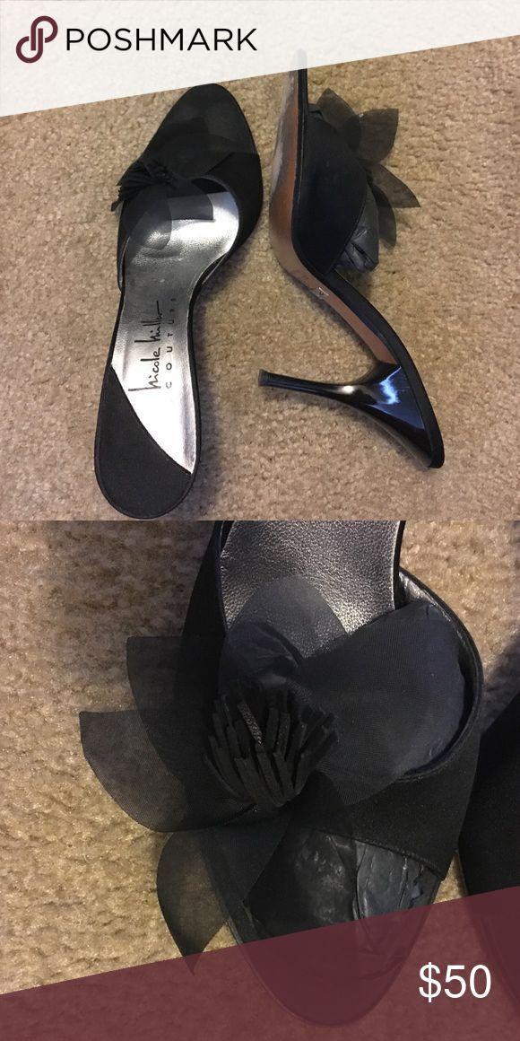 "Nicole Miller Couture heel with flower design Gorgeous 4"" Black satin open toe heels with tulle and suede flower design. Nicole Miller Couture Shoes Heels"
