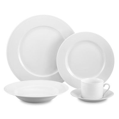Apilco Beaded Hemstitch Porcelain Dinnerware Collection #williamssonoma Note: Mug and cereal bowl available