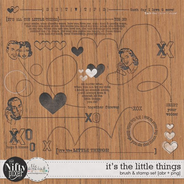 IT'S THE LITTLE THINGS | Wordart This fun retro inspired pack of wordart is bursting with fun loving goodness. Add these little gems to your digital projects for some extra visual impact and to help express those inner most feelings of admiration for the one you crush on.  DOWNLOAD INCLUDES:  16X Brush Tips (.abr file) 16X Digital Stamps/Textures (.png) All products are saved at 300ppi for optimum printing quality. This is a Personal Use product.