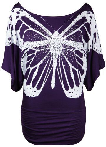 New Ladies Short Sleeve Glitter Butterfly T-Shirt Womens Stretch Gathered Batwing Top Plus Size Purple Size 16 18 Purple Hanger, http://www.amazon.co.uk/dp/B00BQGOAXA/ref=cm_sw_r_pi_dp_0b2bsb1G2B32B