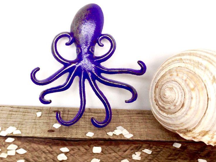 Purple Octopus Hook - Nautical Decor - Purple Bathroom Decor - Necklace Holder - Bathroom Wall Hooks - Purple Decor - Octopus Wall Art by ShineBoxPrimitives on Etsy https://www.etsy.com/listing/268840413/purple-octopus-hook-nautical-decor
