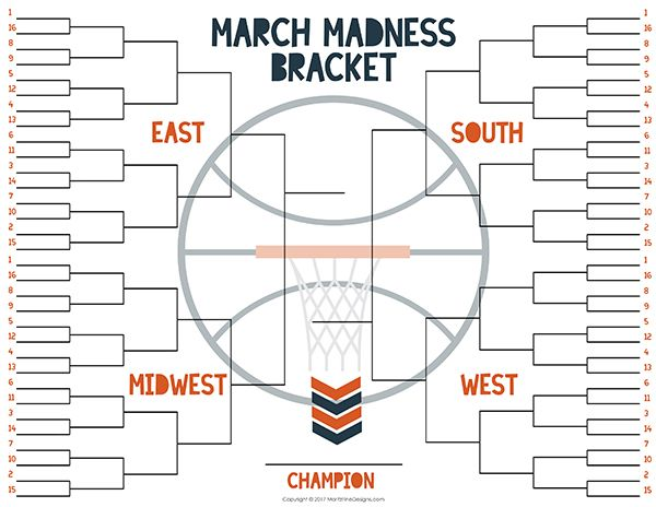 Ncaa Free Tournament Bracket Free Printable Included Ncaa March Madness March Madness Bracket Ncaa March Madness Basketball