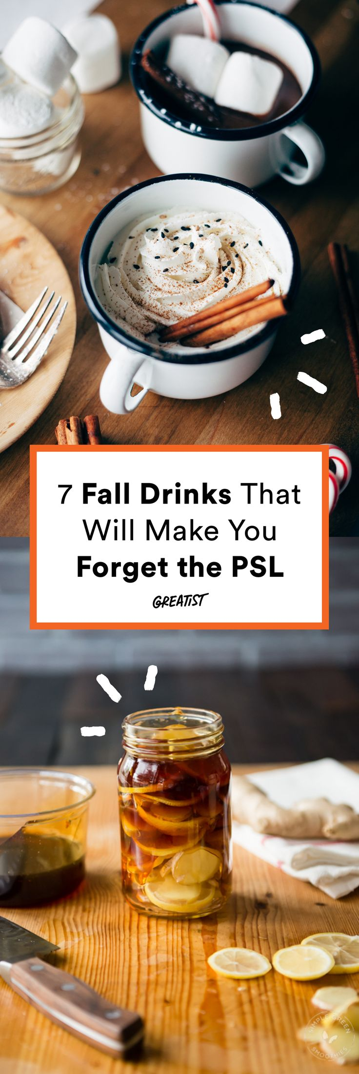 Drink something else this fall; the world will not come to an end. #warm #drinks #recipes http://greatist.com/eat/warm-drink-recipes-better-than-a-pumpkin-spice-latte