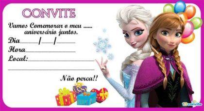 Резултат с изображение за convite frozen para imprimir