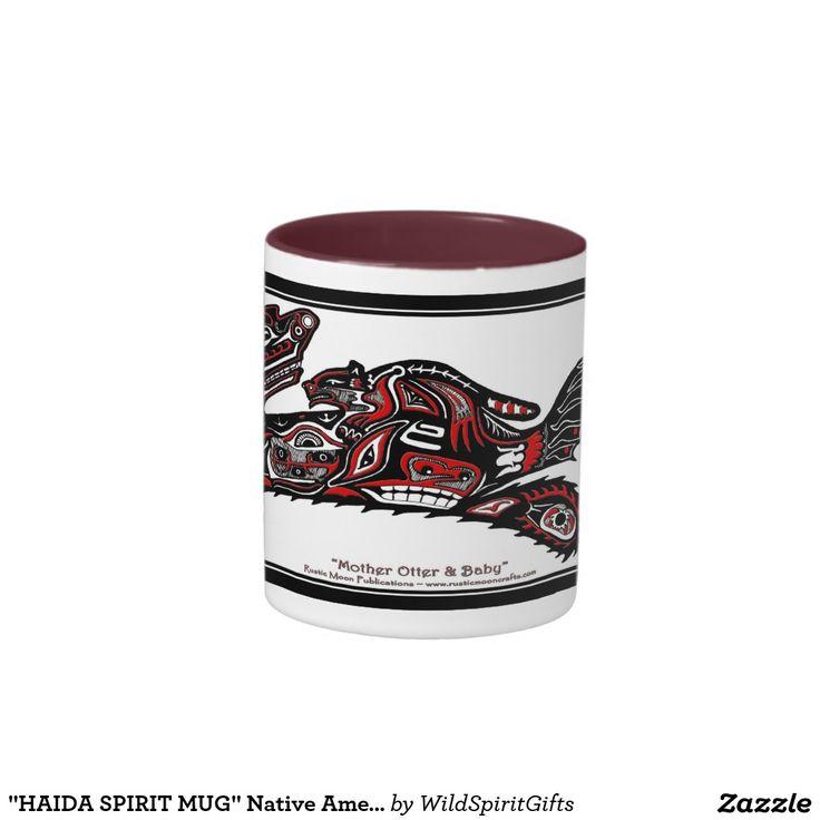 """""""HAIDA SPIRIT MUG"""" Native American Otters Two-Tone Coffee Mug"""