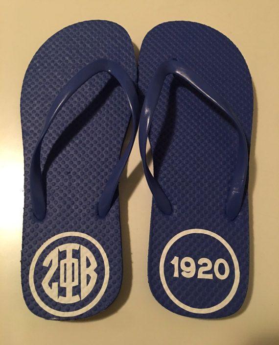 Zeta Phi Beta 1920 blue and white flip flops