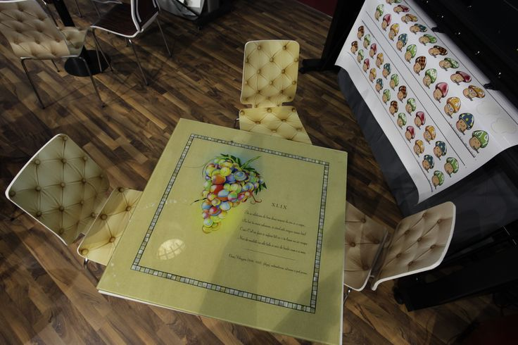 Glass on the table and chairs printed with HP Latex Technology. Digital Print & Sign 2012, Bucharest - Grup Transilvae booth #hplatex