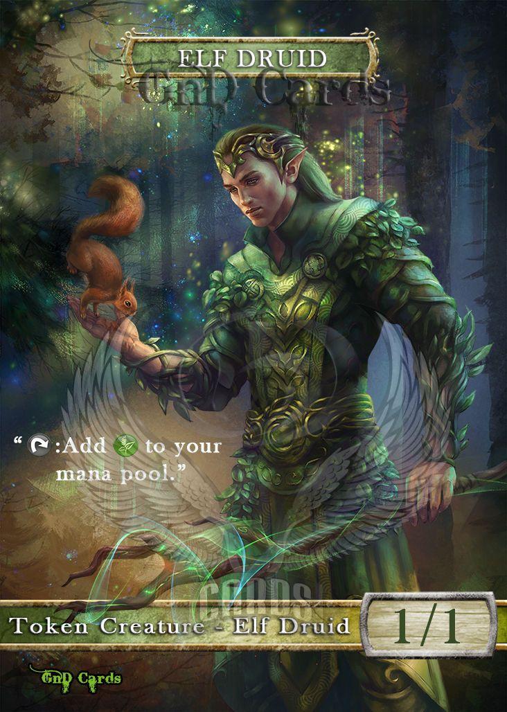 3x Elf Druid #6 Custom Altered Tokens MTG for Freyalise, Llanowar/'s Fury