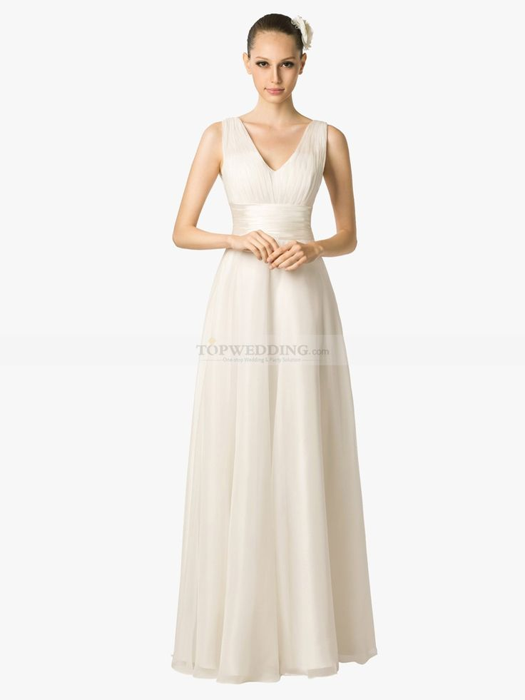 reception dresses for wedding pleated sleeveless v neck chiffon a line bridal dress 6981
