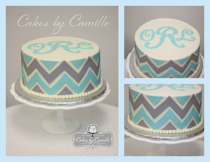 Chevron birthday cake, monogram birthday cake, mint and grey cake, Cakes by Camille, llc