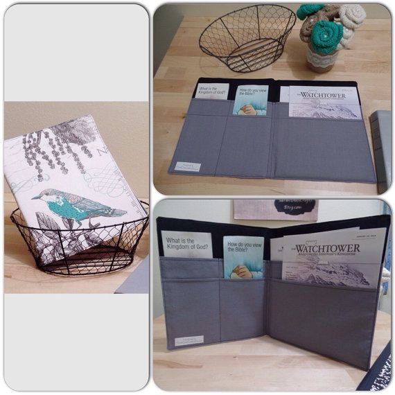 Magazine & Tract Holder, Large bird canvas, JW ministry organizer, Ministry supplies, Jehovah's Witness folder, Magazine tract folder