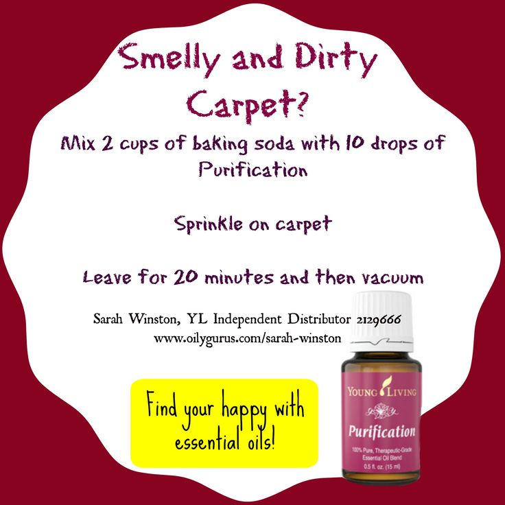 Smelly and dirty carpet?! Mix 2 cups of baking soda with 10 drops of Young Living's Purification Essential Oil and sprinkle it on the carpet. Leave it for 20 minutes and then vacuum! Your carpet will be smelling fresh and clean! #essentialoil #youngliving #dirtycarpet