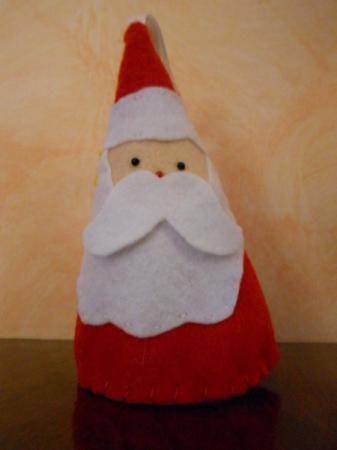 babbo natale cono decorazione natalizia pannolenci  perline cucito creativo