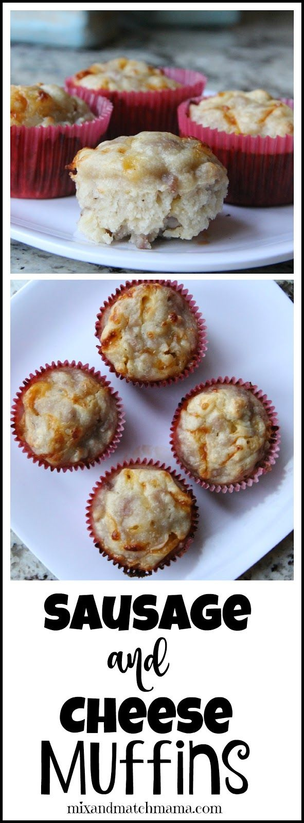 Sausage & Cheese Muffins!  So good for breakfast!  They taste like a classic sausage ball!