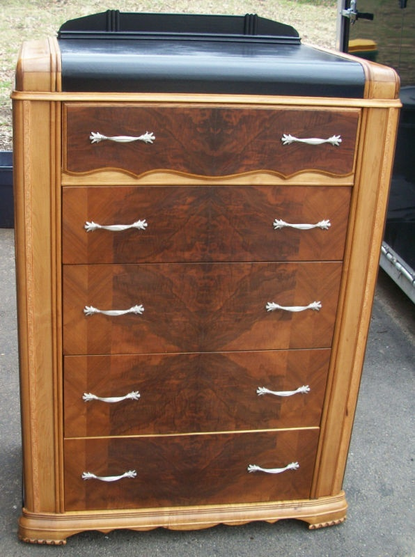 Masterpiece 1920s antique art deco dresser chest of drawers waterfall highboy