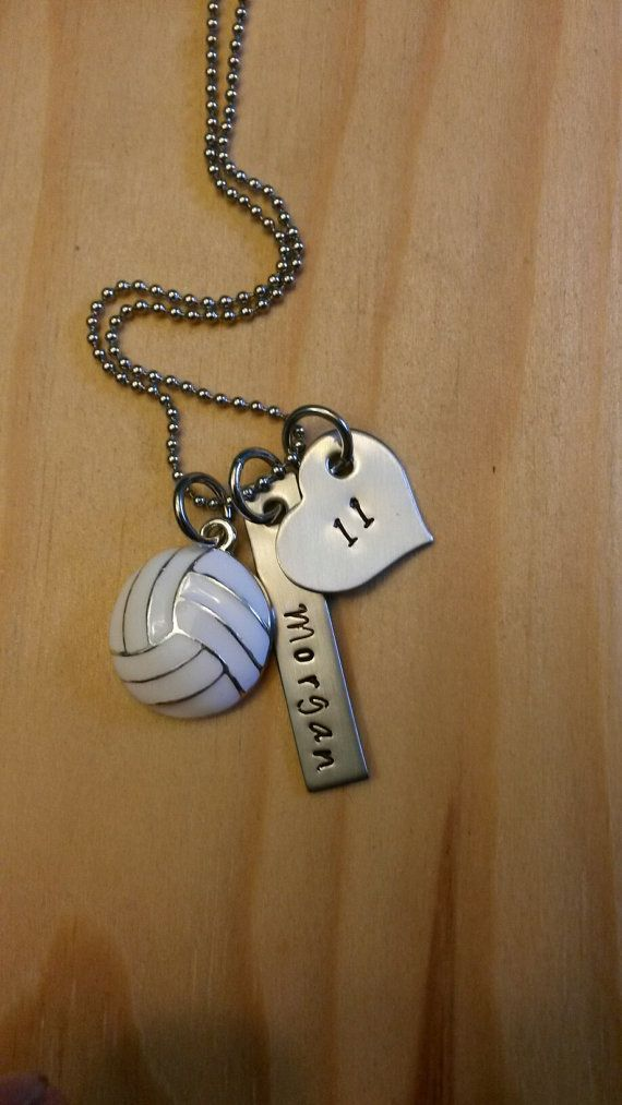 Hand Stamped Volleyball Necklace Volleyball by BlackWolfDesigns21