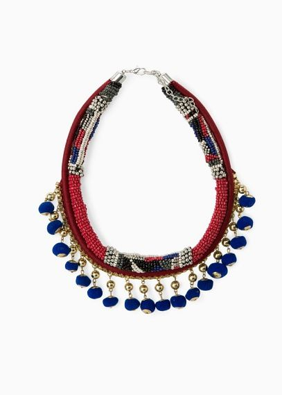 Pompom ethnic necklace