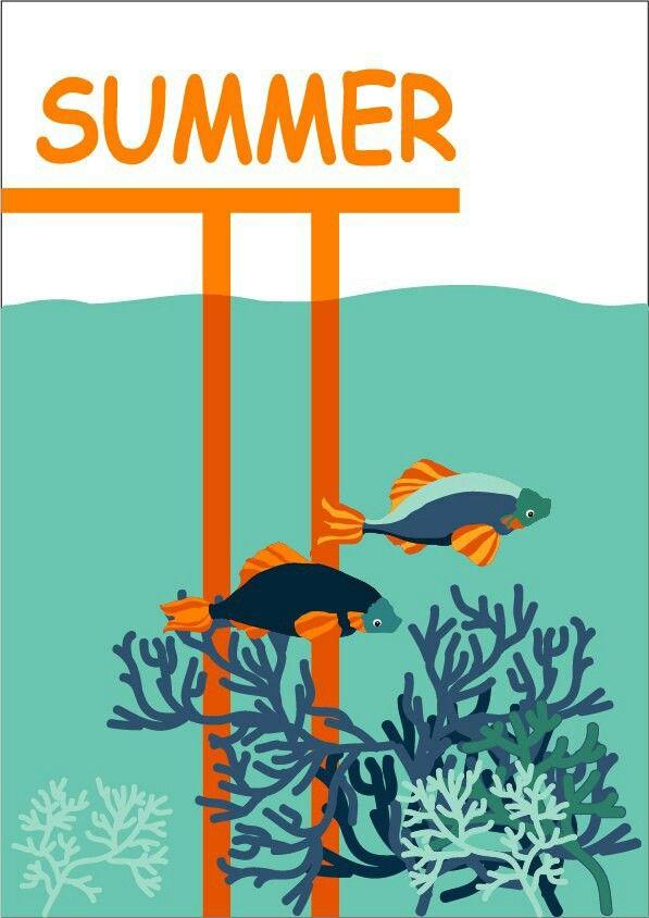 Poster about summer. Nastya Komarova. Плакат о лете. Японские карпы, рыбы, водоросли, японский мостик, вода. Пять цветов: светло и темно-оранжевый, голубой, синий, сине-зеленый.