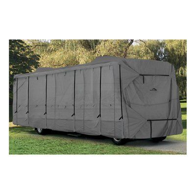 Class A RV Cover Motorhome Cover RV Storage Protection 39′ to 40′ (Includes 4 Universal Tire Covers) | 3 High-Tech Layer Protection: Spun Bond Polypropylene, Microporous Breathable Film and Another Layer of Spun Bond Polypropylene Exclusive self-adjusting hold down strap system holds the cover secur…