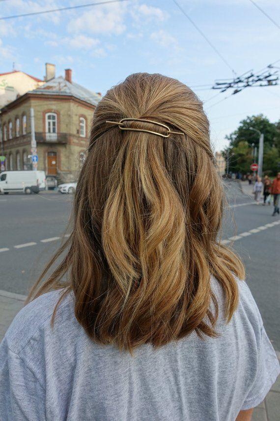 Bun holder hammered copper hair slide small silver hair barrette rustic hair clip simple stick moder