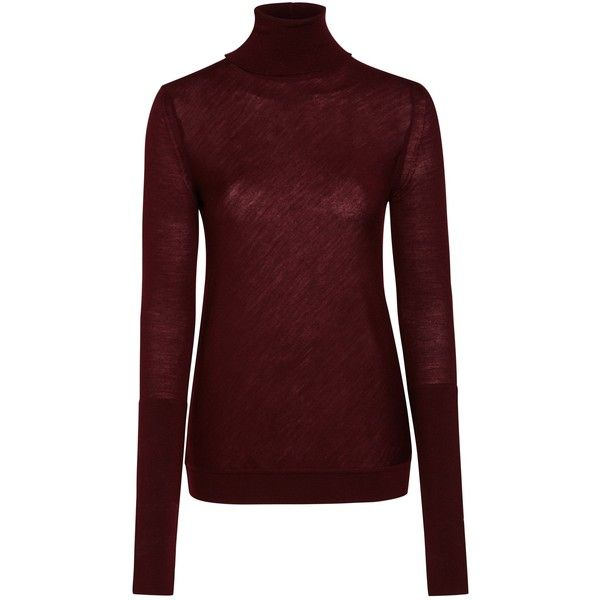 Nicole Farhi Barton Roll Neck Jumper, Oxblood found on Polyvore featuring tops, sweaters, shirts, red sweater, merino wool shirt, merino wool sweater, roll neck sweater and long sleeve jumper
