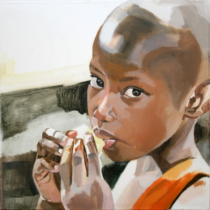 "Memoirs of Congo, Larissa Doll ""Birungi""  Oil on Canvas,  46.5cm x 46.5cm,  2011"
