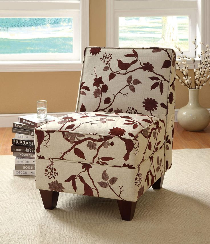 armless bird and leaf pattern fabric upholstered side accent chair with espresso wood finish legs measures x x h some assembly required