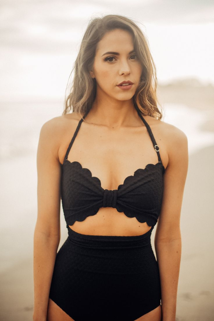 Kate Spade: The Marina Piccola Scalloped Cut Out Bandeau One-Piece in Black (PRE ORDER: SHIPS IN 2 WEEKS)